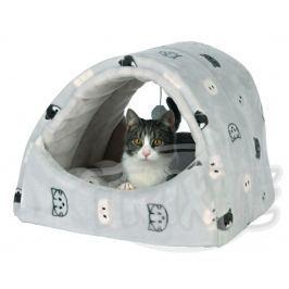 Pelech (kukaň) MIMI s hračkou světle šedá - 42x35x35cm Pelíšky pro kočky