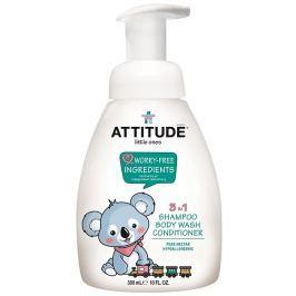 Dětské tělové mýdlo, šampón a kondicionér (3 v 1) ATTITUDE s vůní hruškové šťávy - s pumpičkou 300 ml