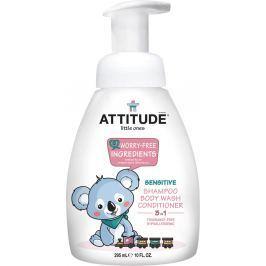 Dětské tělové mýdlo, šampón a kondicionér (3 v 1) ATTITUDE bez vůně - s pumpičkou 300 ml