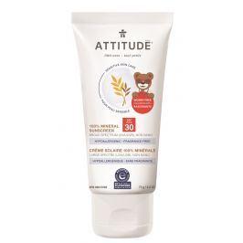 Dětský 100% minerální opalovací krém ATTITUDE (SPF 30) pro citlivou a atopickou pokožku bez vůně 75 g