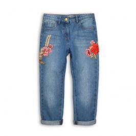 Minoti UTILITY 9 Kalhoty dívčí džínové s výšivkami modrá 104/110